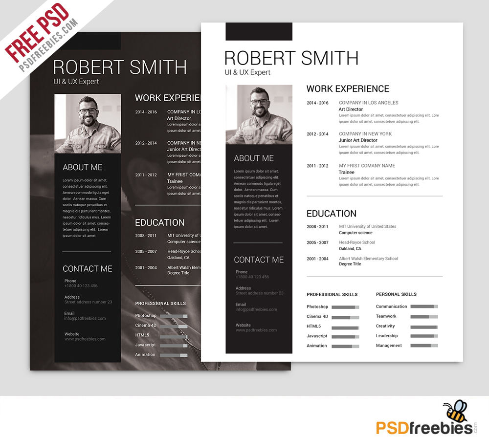 modern minimal resume template free psd