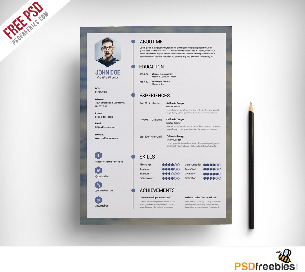 Best Visual Resume Format Best Resume Styles 2017 Resume 2017 Free Clean Resume Psd Template Psdfreebies