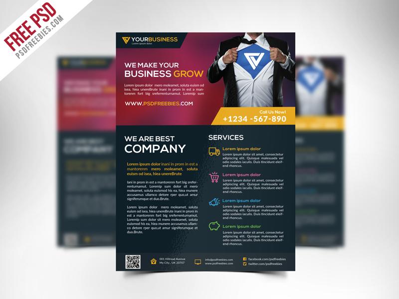 Free Corporate Business Flyer Template PSD \u2013 PSDFreebies