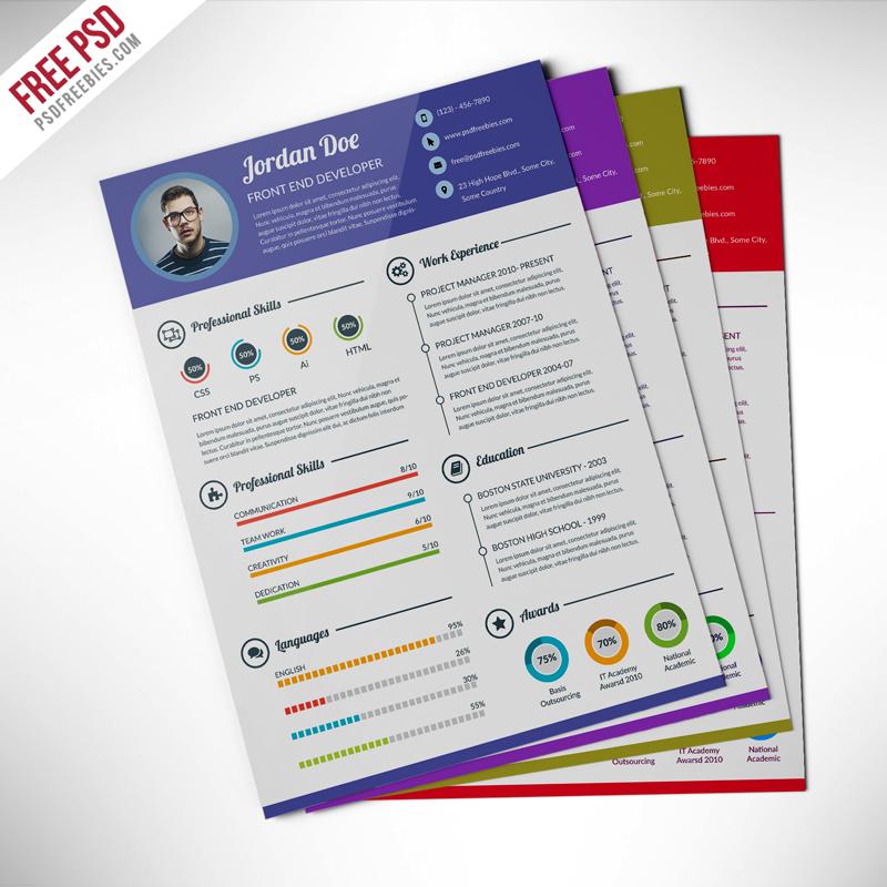 Professional Resume CV Template Free PSD PSDFreebies