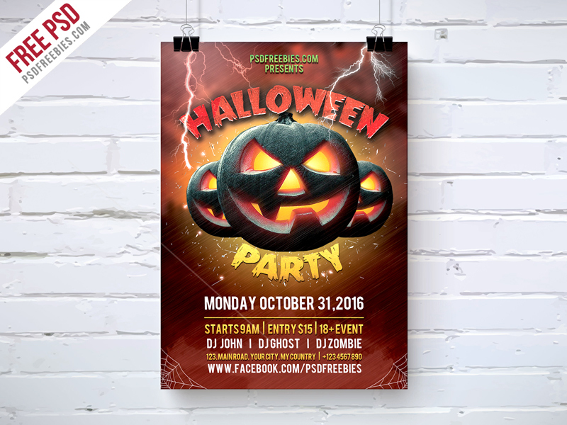 Halloween Party Flyer Template Free PSD \u2013 PSDFreebies
