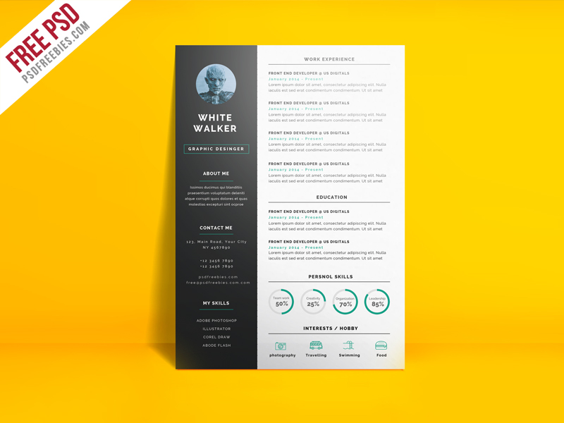 Simple and Clean Resume CV Template Free PSD PSDFreebies