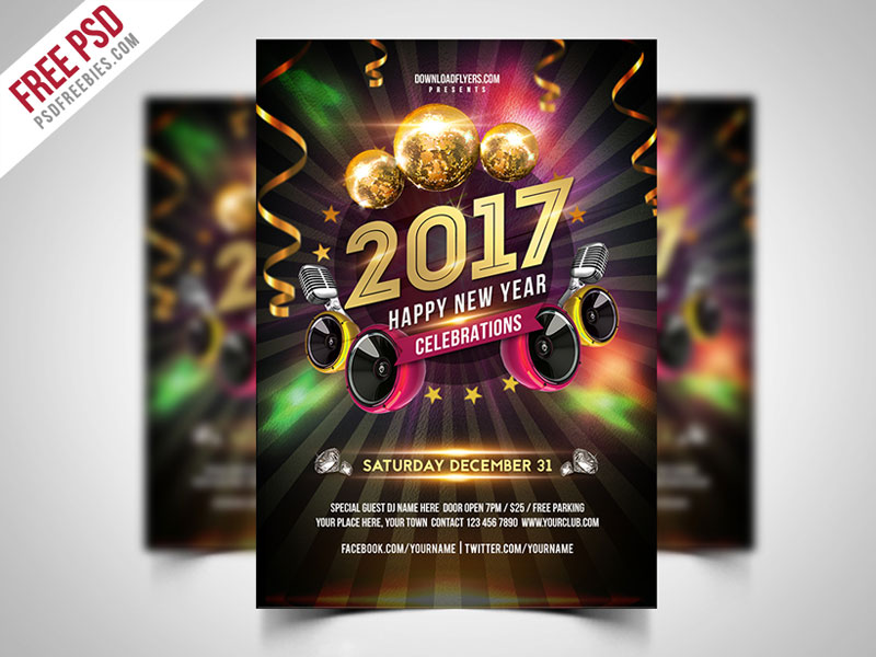 New Year 2017 Party Flyer Free PSD PSDFreebies
