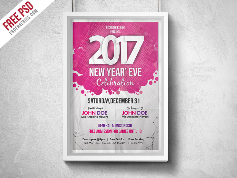 New Year Eve Party Flyer PSD PSDFreebies