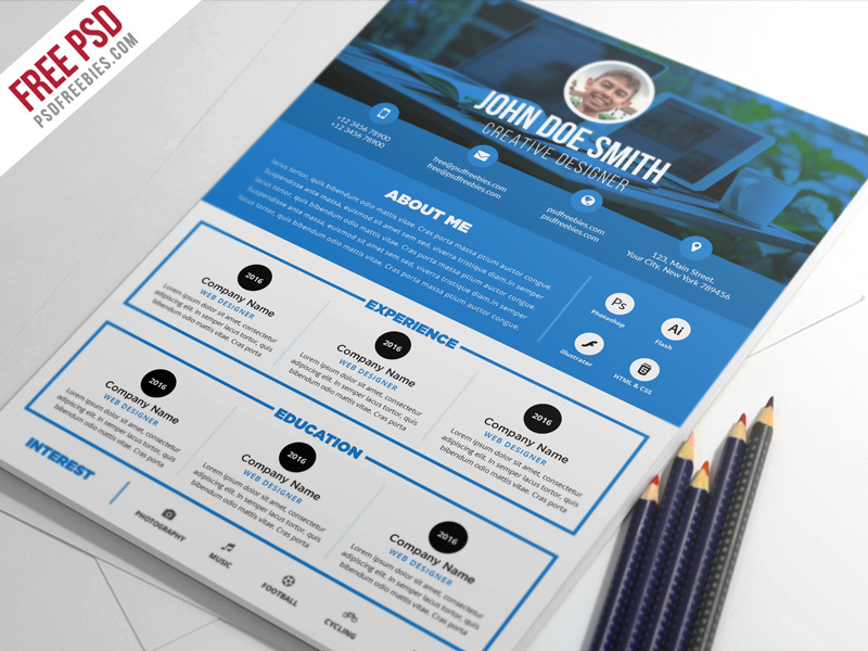 Clean and Designer Resume CV Template PSD PSDFreebies