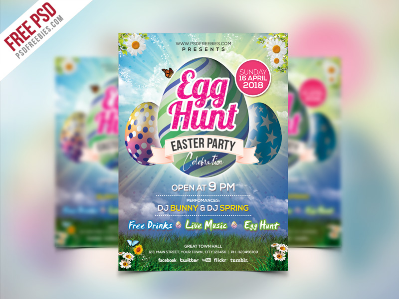 Easter Party Invitation Flyer Template PSD PSDFreebies
