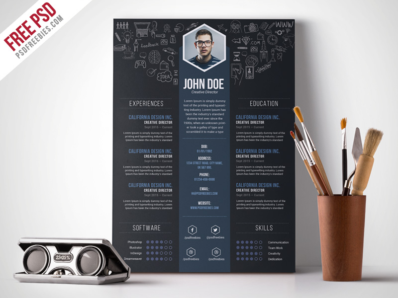Free Creative Designer Resume Template PSD PSDFreebies