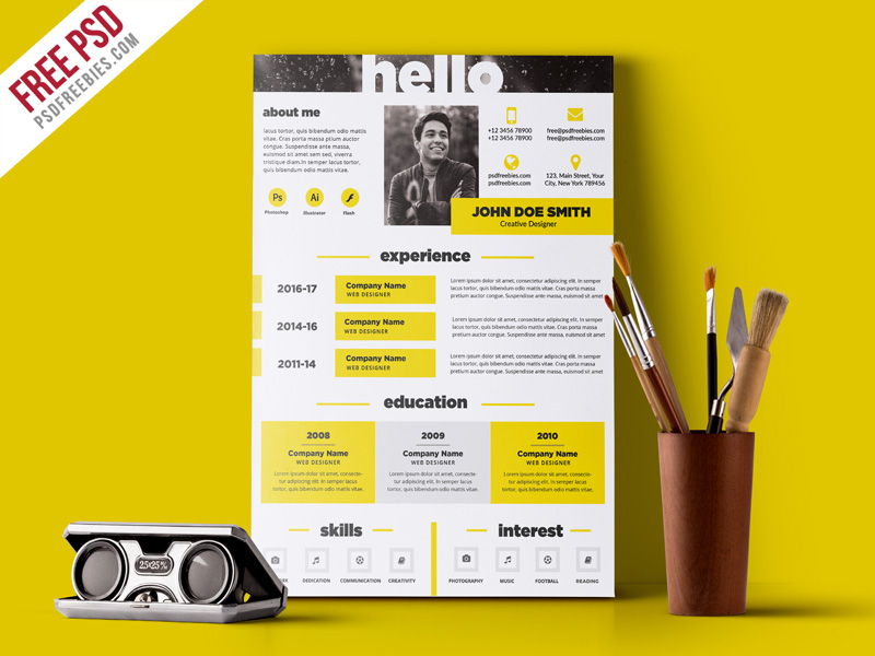 Creative and Elegant Resume Template Free PSD PSDFreebies