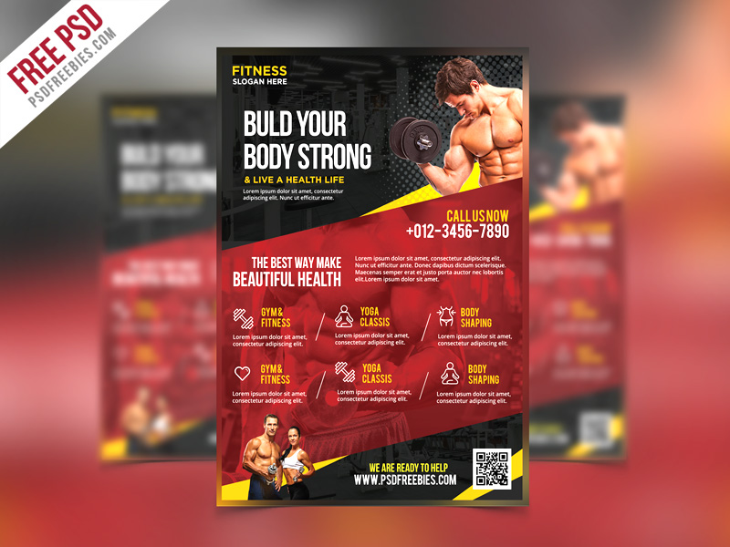 Fitness and Gym Flyer PSD Template \u2013 PSDFreebies