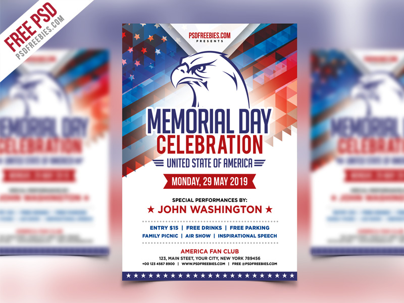 America Memorial Day Event Flyer Template PSD PSDFreebies