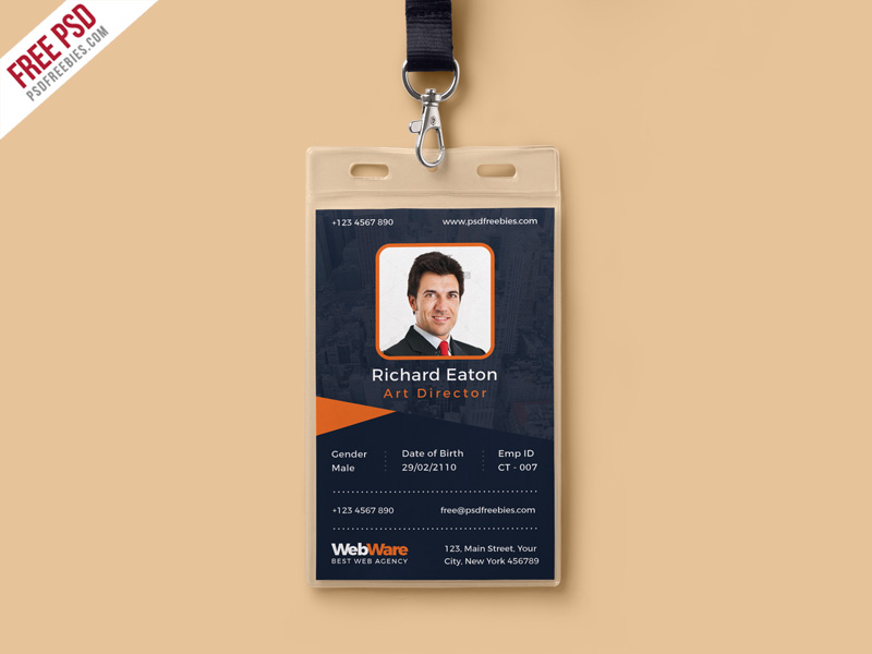 Vertical Company Identity Card Template PSD PSDFreebies