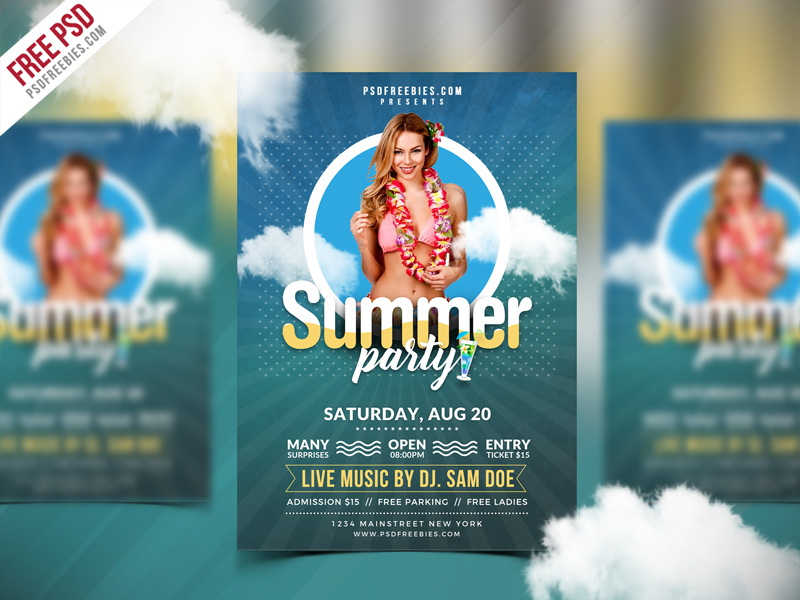 Best Free Summer Party Flyer PSD Template PSDFreebies