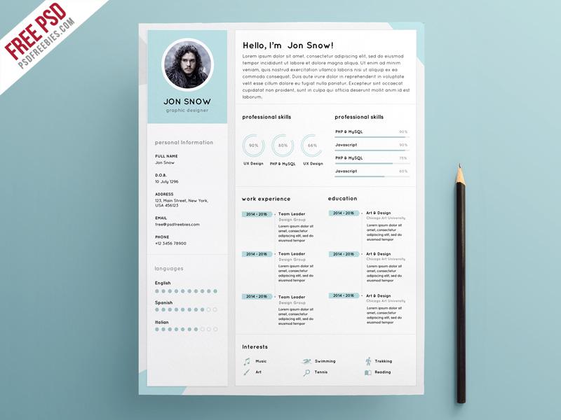 Clean Resume CV Template PSD Template PSDFreebies
