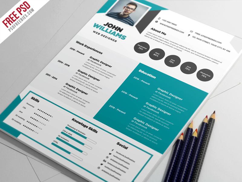 Free Creative Resume Template PSD PSDFreebies