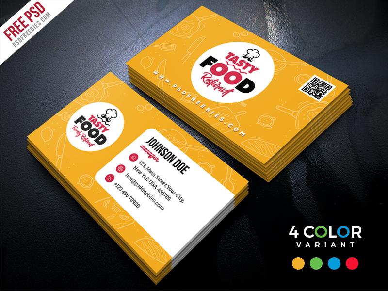 Restaurant Business Card Free PSD Bundle PSDFreebies