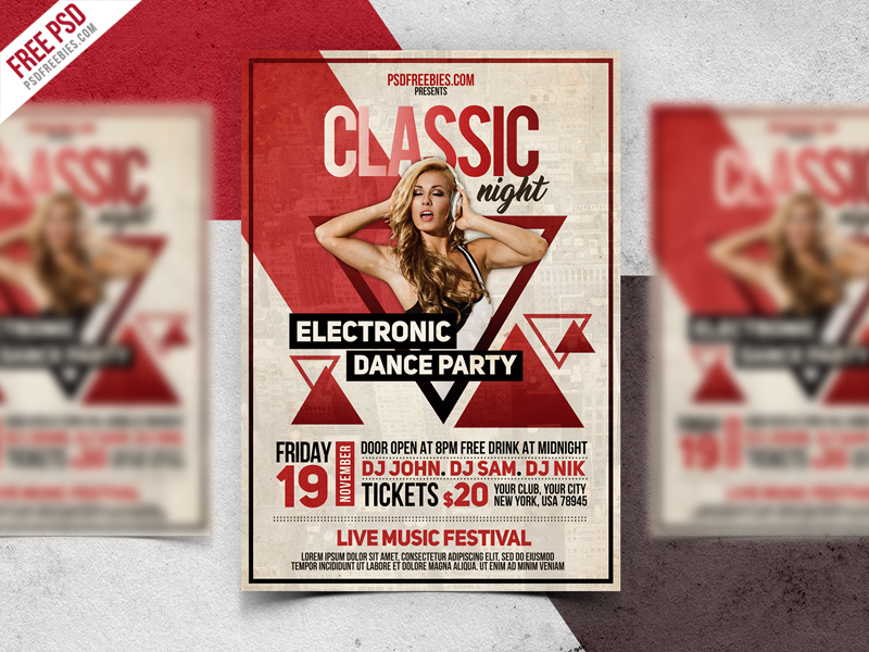 Vintage Party Flyer PSD Template PSDFreebies