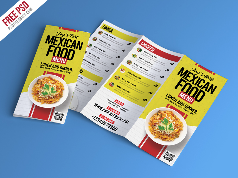 Food Restaurant Menu Brochure PSD PSDFreebies