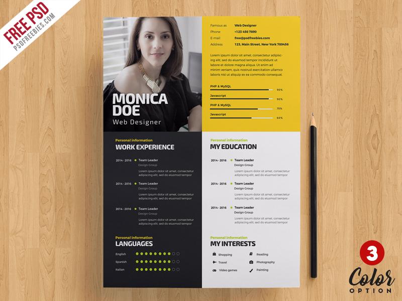 Creative Resume Template PSD Bundle PSDFreebies