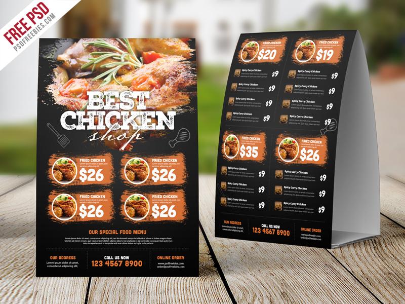 Restaurant Tent Card Food Menu Free Psd Psdfreebiescom