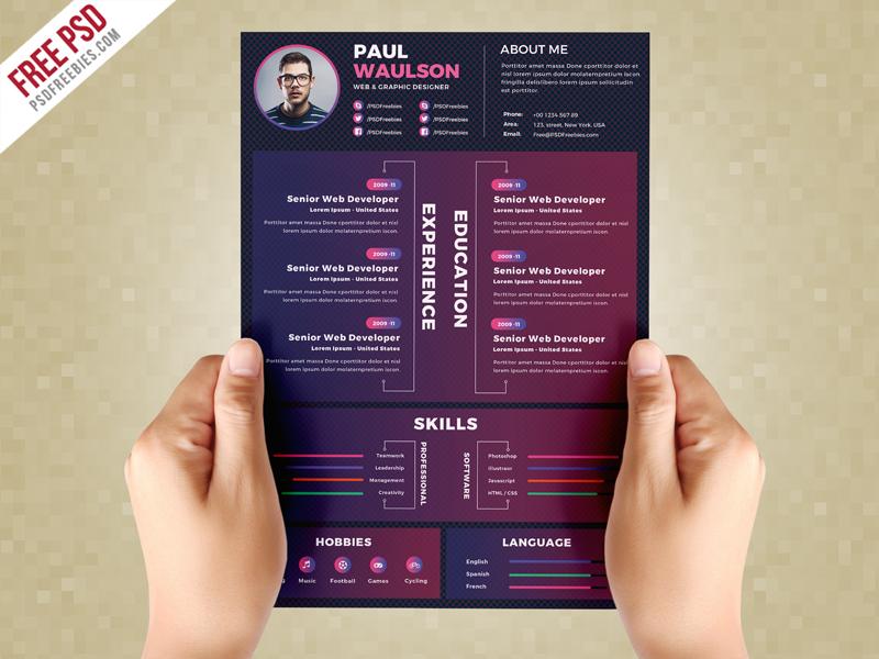 Creative Resume Design Template PSD \u2013 PSDFreebies