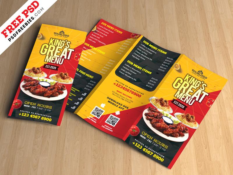 Restaurant Tri-Fold Brochure Menu PSD PSDFreebies