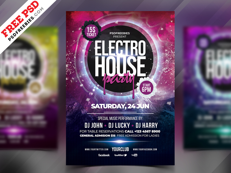 Electro Party Flyer Free PSD PSDFreebies