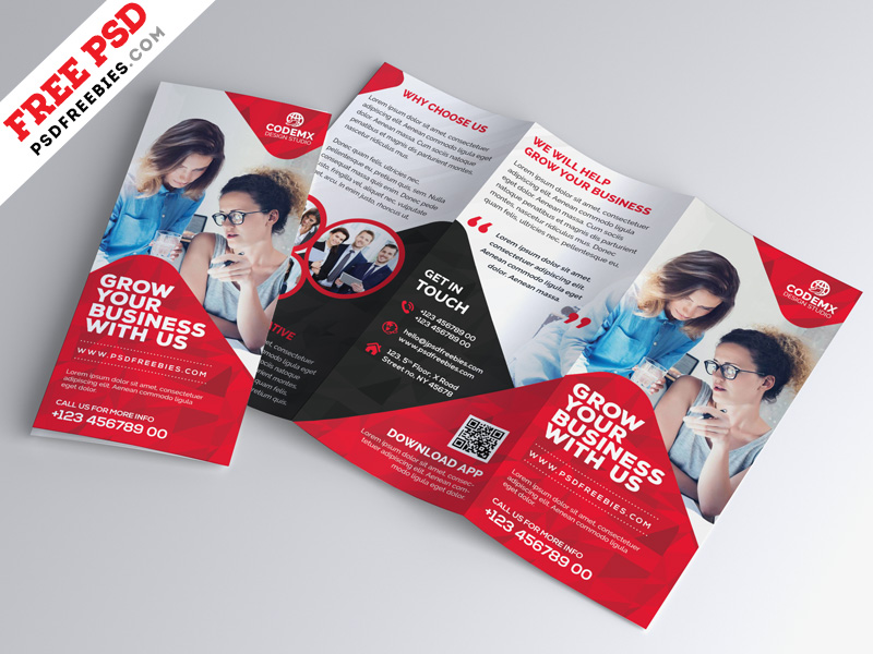 Business Tri-fold Brochure Template Design PSD PSDFreebies