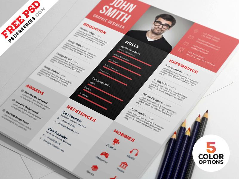 Designer Resume Template Free PSD Bundle PSDFreebies