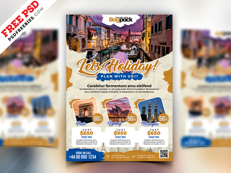 Holiday Travel Flyer Design PSD PSDFreebies