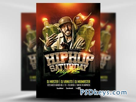 Hip Hop Saturdays Flyer Template » Free Download Photoshop Vector