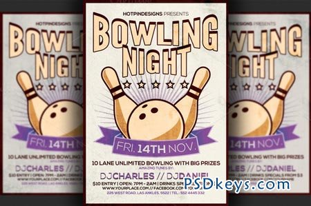Bowling Night Flyer Template 91031 » Free Download Photoshop Vector