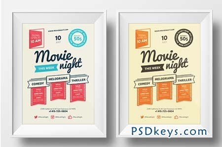 Movie night poster template 65482 » Free Download Photoshop Vector