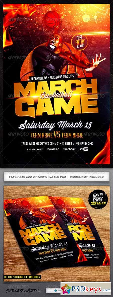 March Game Basketball Flyer Template 6722639 » Free Download - basketball flyer example