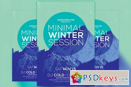Minimal Winter Party Flyer Template 100564 » Free Download Photoshop
