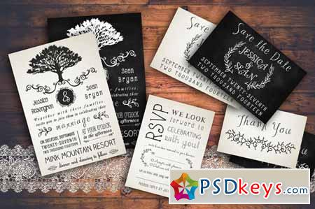 Rustic Wedding Invitation Pack 128815 » Free Download Photoshop