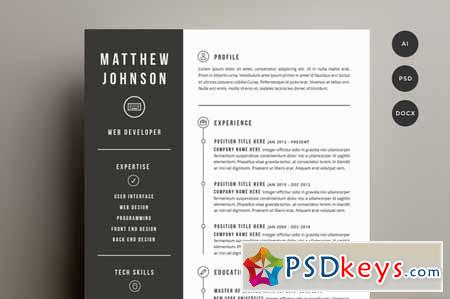 Resume  Cover Letter Template 141501 » Free Download Photoshop