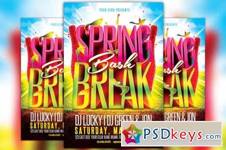 Spring Break Bash Flyer Template 210199 » Free Download Photoshop