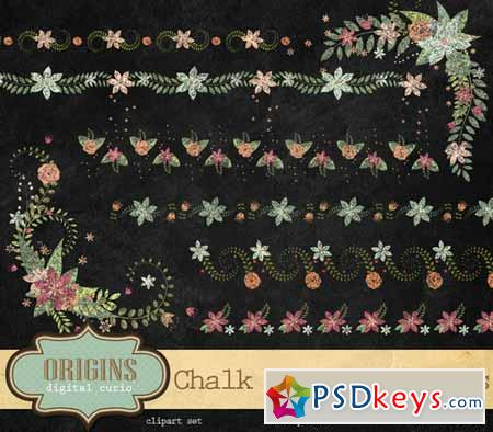 Chalk Floral Borders and Corners 203167 » Free Download Photoshop - chalk borders