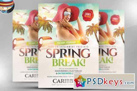 Spring Break Flyer Template 166261 » Free Download Photoshop Vector