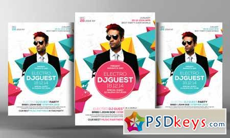 Electro Dj Party Flyer Template 220314 » Free Download Photoshop - party brochure template