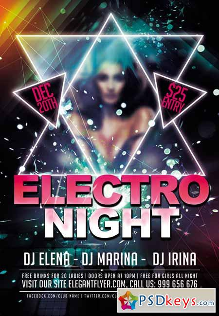 Electro Night Premium Club flyer PSD Template + FB Cover » Free