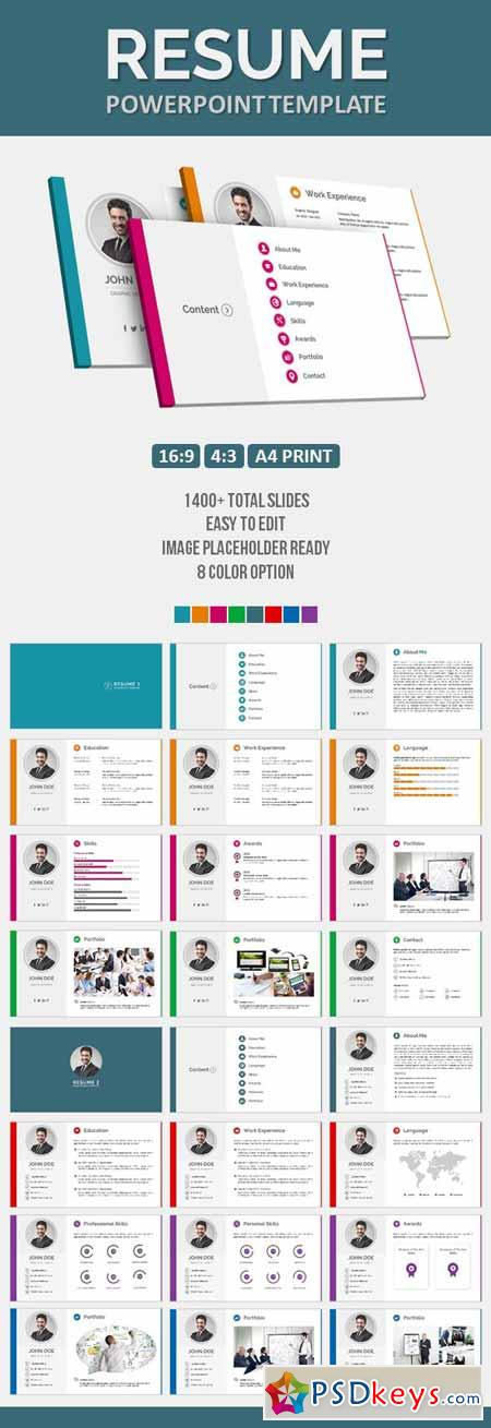 Resume PowerPoint Template 11636336 » Free Download Photoshop Vector - powerpoint resume