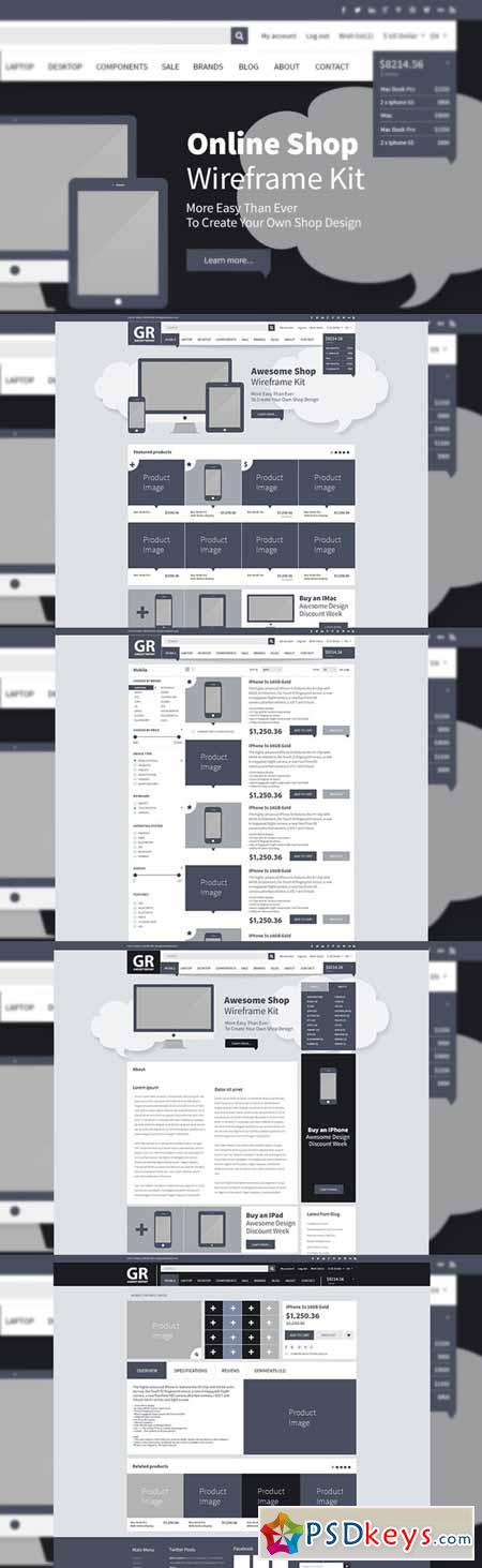 Online Shop Webdesign Wireframe Kit 38125 » Free Download Photoshop
