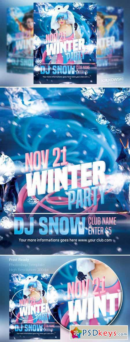 Winter Party Flyer Template 440472 » Free Download Photoshop Vector