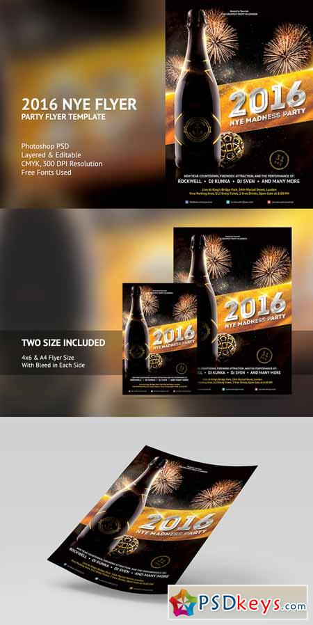 2016 New Years Eve Flyer Template 464580 » Free Download Photoshop - free new years eve flyer template