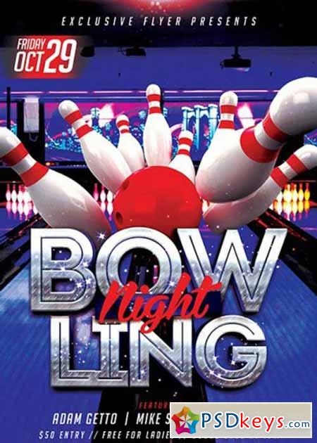 Bowling Premium Flyer Template + Facebook Cover » Free Download