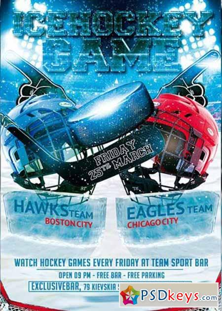 Ice Hockey Game Premium Flyer Template » Free Download Photoshop