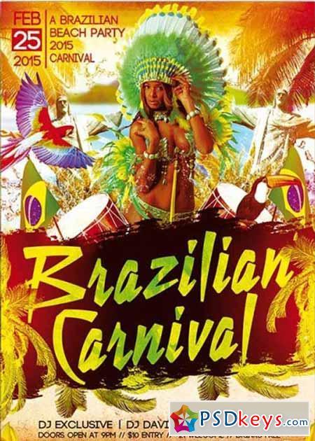 Brazilian Carnival Party Premium Flyer Template » Free Download