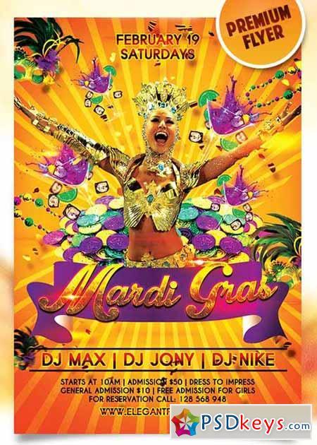 Mardi Gras Carnival Flyer PSD Template + Facebook Cover » Free