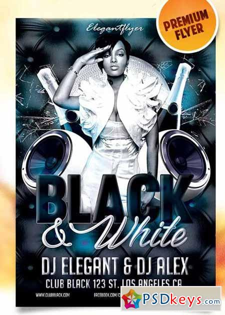 Black and White Party u2013 Flyer PSD Template + Facebook Cover » Free - black and white flyer template